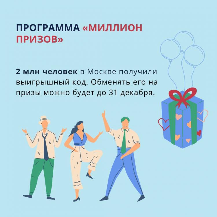 2 млн москвичей стали победителями программы «Миллион призов»