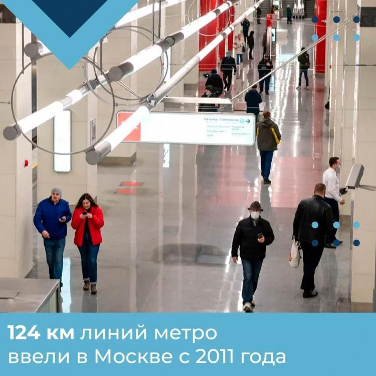 Почти 124 километра линий метро ввели в Москве за 10 лет
