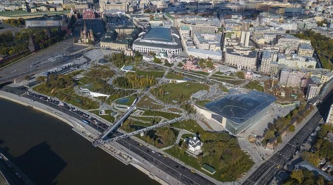 Строительство концертного зала вмосковском парке «Зарядье» окончено
